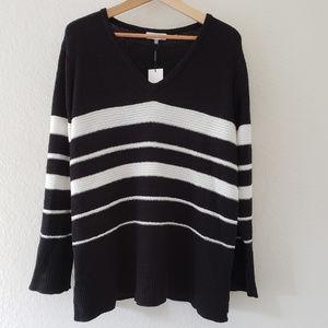 Calvin Klein Black and White Stripe Sweater XL